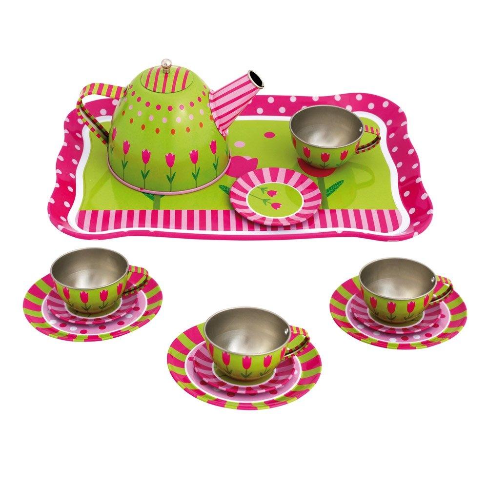 Bino Dětský čajový set plechový s kytičkami