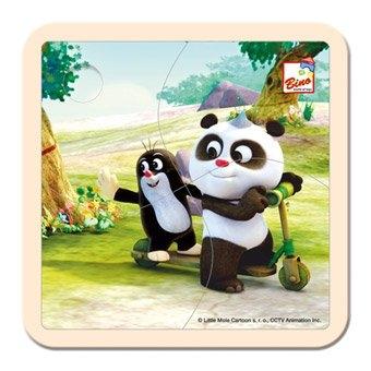Bino Puzzle Krtek a Panda - koloběžka, 4 dílky