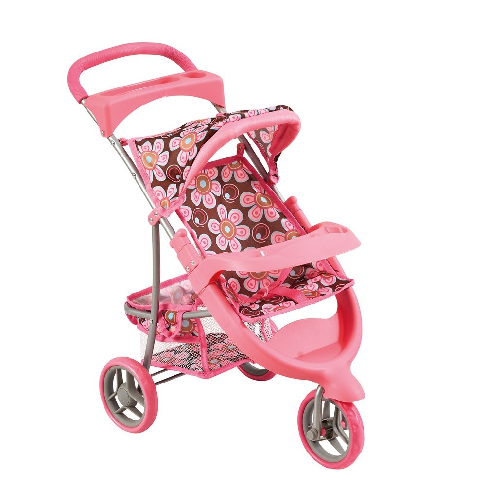 Bino Kočárek pro panenky, růžový